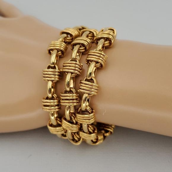Talbots 3 Strand Gold Tone Chunky Links Bracelet